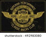 vintage motorcycle  classic... | Shutterstock .eps vector #492983080
