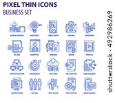 thin line flat icons pack for... | Shutterstock .eps vector #492986269