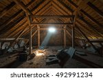 dusty creepy attic of the old... | Shutterstock . vector #492991234