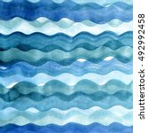 sea hand painted waves.... | Shutterstock . vector #492992458