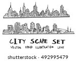 doodle of cityscape hand draw... | Shutterstock .eps vector #492995479