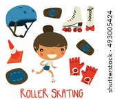 roller skating girl. cute... | Shutterstock .eps vector #493005424