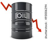 black oil barrel with red arrow ... | Shutterstock .eps vector #493006294