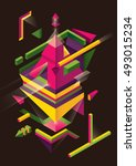 abstract isometric composition... | Shutterstock .eps vector #493015234