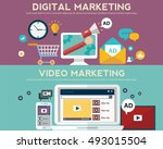 concepts for video marketing ... | Shutterstock .eps vector #493015504