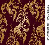 vector illustration. damask... | Shutterstock .eps vector #493018189