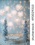 christmas tree with blue and...   Shutterstock . vector #493029310