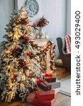 christmas tree in room  xmas...   Shutterstock . vector #493029400