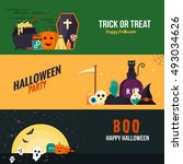 happy halloween banners. set of ... | Shutterstock .eps vector #493034626