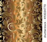 baroque damask gold vector...   Shutterstock .eps vector #493034770