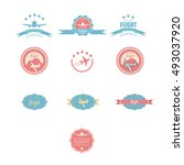 set of vintage airplane label.... | Shutterstock . vector #493037920