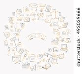 hand drawn doodle vote icons... | Shutterstock .eps vector #493039666