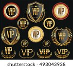 golden vip labels and badges... | Shutterstock .eps vector #493043938
