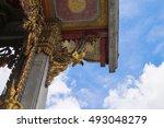 thai art on roof at thai temple ... | Shutterstock . vector #493048279