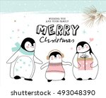 hand drawn christmas card with...   Shutterstock .eps vector #493048390