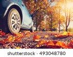 car on asphalt road on autumnr... | Shutterstock . vector #493048780