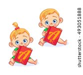 vector baby boy and baby girl... | Shutterstock .eps vector #493051888