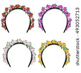 headband with flowers | Shutterstock .eps vector #493052713