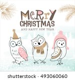 hand drawn christmas card with... | Shutterstock .eps vector #493060060