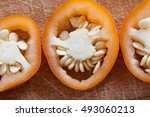 sliced pepper paprika isolated... | Shutterstock . vector #493060213