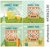 vector family picnic glade... | Shutterstock .eps vector #493062130