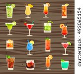 cocktails vector icon set | Shutterstock .eps vector #493065154