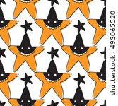 halloween seamless pattern with ... | Shutterstock .eps vector #493065520