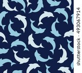 Seamless Pattern With  Dolphin...