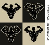 bodybuilder logo  symbol  two... | Shutterstock .eps vector #493068118
