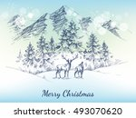 christmas card. winter... | Shutterstock .eps vector #493070620