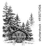 a wooden cabin in the pine... | Shutterstock .eps vector #493071406