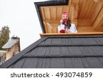 Snowboarder Girl Resting On Th...