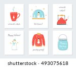 christmas  new year and winter... | Shutterstock .eps vector #493075618