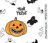 halloween seamless pattern with ...   Shutterstock .eps vector #493076743
