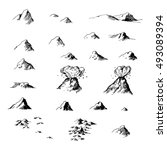 old map ink mountains set....