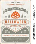 halloween night party poster... | Shutterstock .eps vector #493090774
