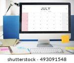 july monthly calendar weekly... | Shutterstock . vector #493091548