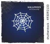 halloween spider web. horror... | Shutterstock .eps vector #493092133