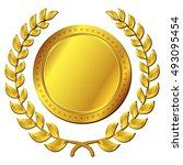 illustration of gold medal on...   Shutterstock .eps vector #493095454
