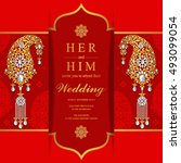 wedding invitation or card with ...   Shutterstock .eps vector #493099054