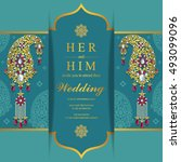 wedding invitation or card with ... | Shutterstock .eps vector #493099096