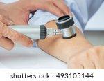 dermatologist examines child... | Shutterstock . vector #493105144