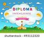 certificate kids diploma ... | Shutterstock .eps vector #493112320