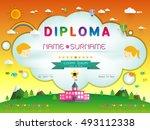 certificate kids diploma ... | Shutterstock .eps vector #493112338
