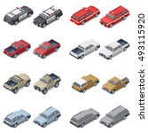 isometric suvs  pickup trucks ... | Shutterstock .eps vector #493115920