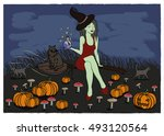 card halloween. beautiful sexy... | Shutterstock .eps vector #493120564