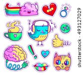 neon quirky patch badges with... | Shutterstock .eps vector #493127029