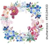wildflower rose flower frame in ... | Shutterstock . vector #493134433