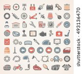 flat icons   car and motorcycle ... | Shutterstock .eps vector #493136470