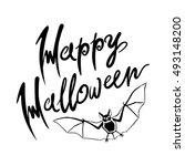 happy halloween bat message... | Shutterstock .eps vector #493148200
